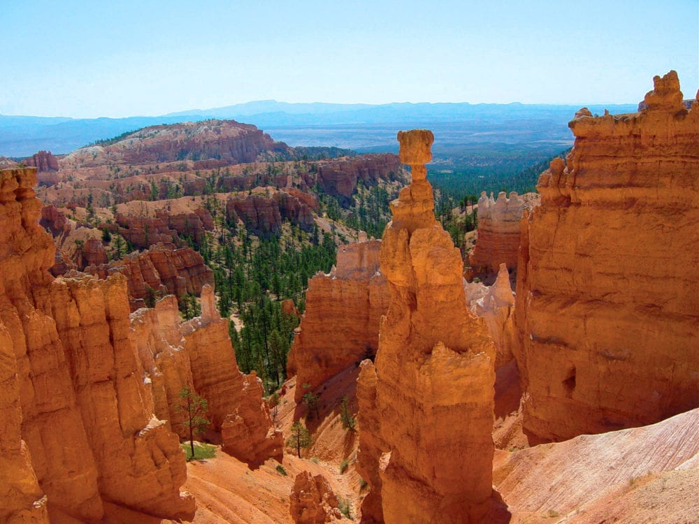 Landscape view of the Bryce Canyon rock formations with the bright colours.