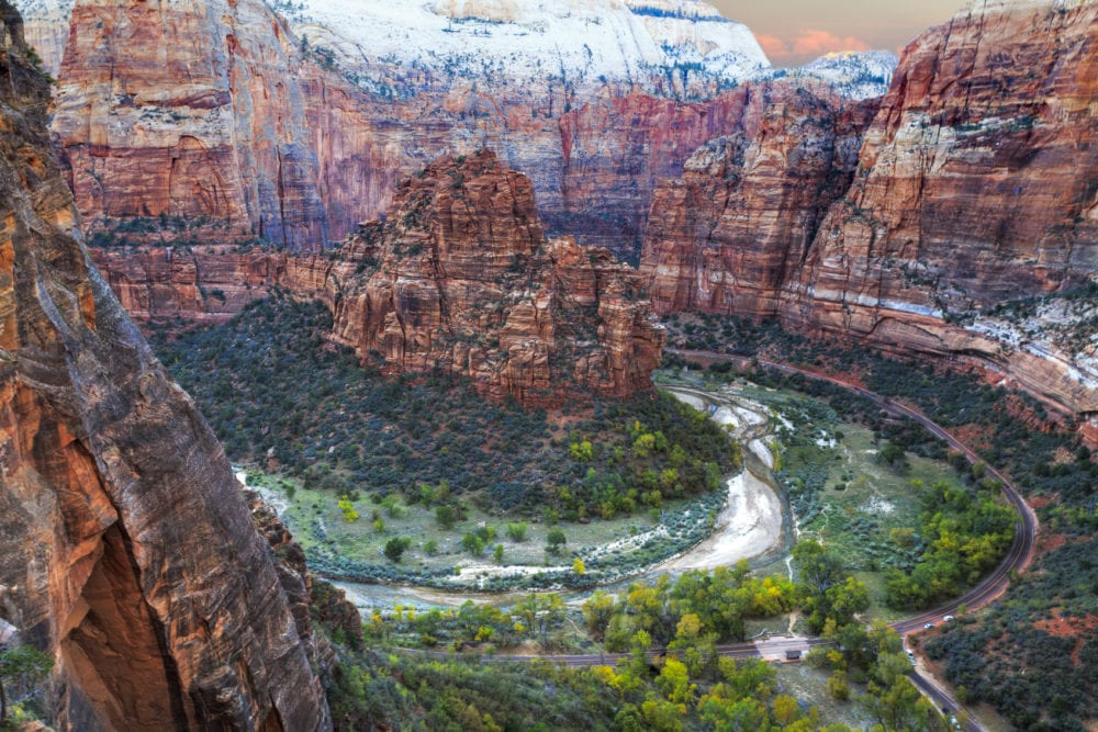 Zion Canion National Park - sunset view from above the bend