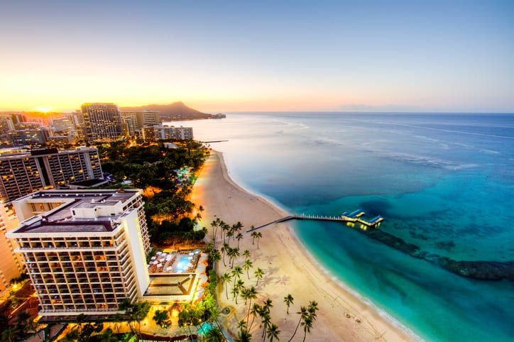 Sunrise at Waikiki Beach, Hawaii