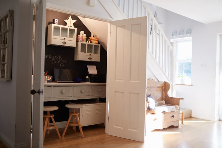 Under Stairs Home Office In Contemporary Family Home